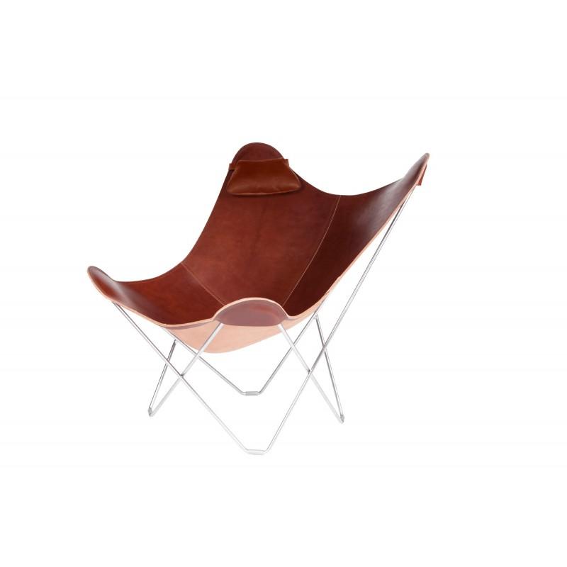 Têtière amovible pour fauteuil en cuir italien BUTTERFLY (marron chocolat) - image 54010