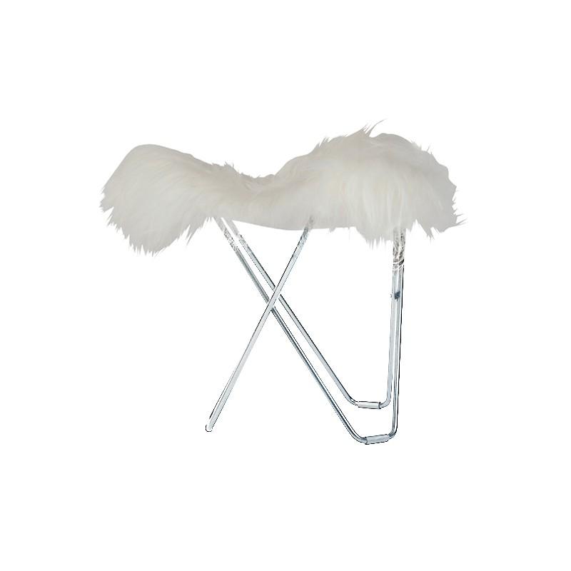 Piedini in pelle di pecora, peli corti FLYING GOOSE ISLANDA piede cromato (bianco)