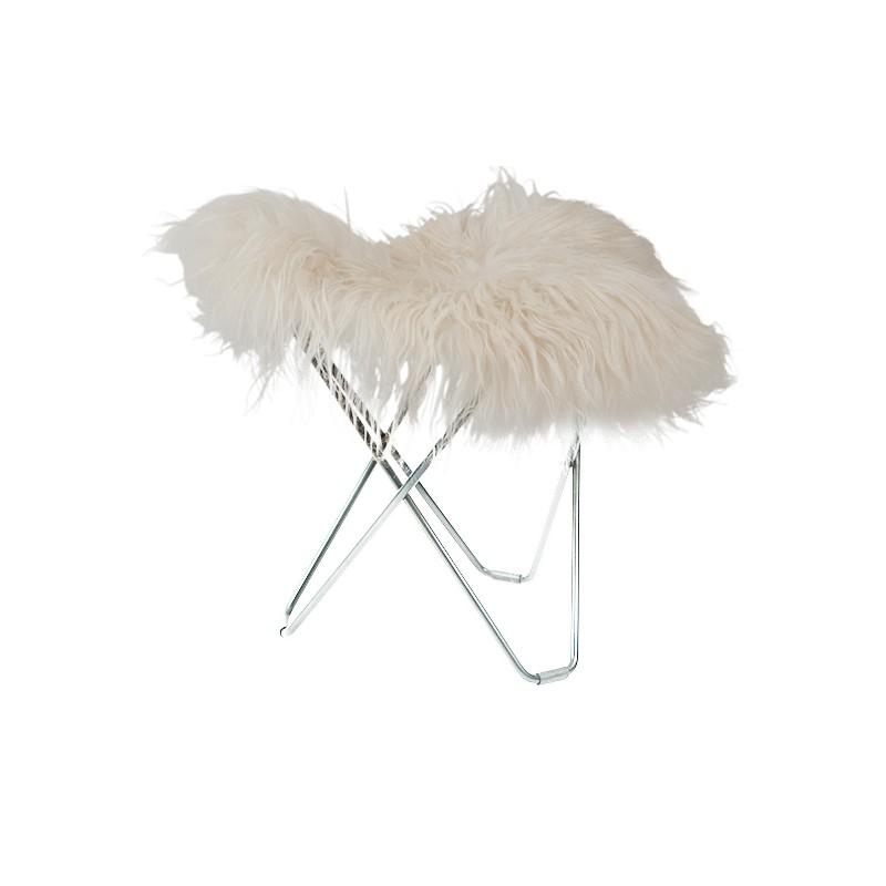 Repose pied en peau de mouton, poils longs FLYING GOOSE ICELAND pied chromé (blanc)