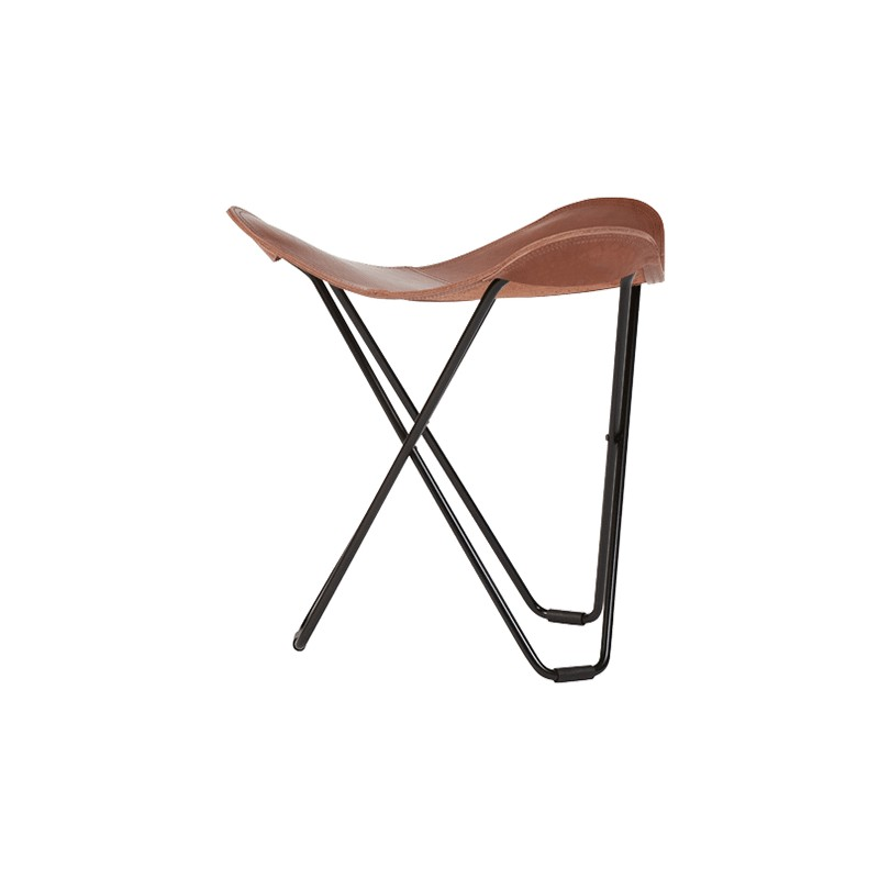 Repose pied en cuir italien FLYING GOOSE PAMPA pied métal noir (marron) - image 54041