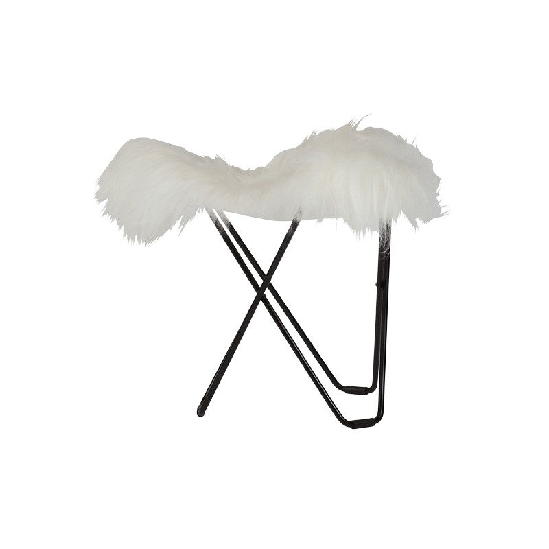 Sheepskin foot rests, short hairs FLYING GOOSE ICELAND foot black metal (white)