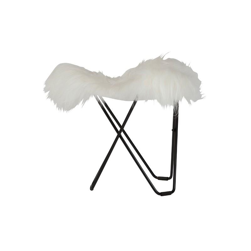 Repose pied en peau de mouton, poils courts FLYING GOOSE ICELAND pied métal noir (blanc)
