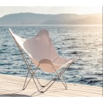 Vegetable butterfly chair in fabric Sumbrella SUNSHINE MARIPOSA chrome foot (white, ivory)