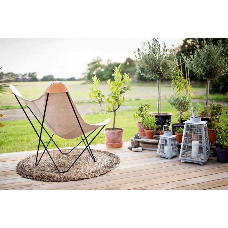 Schmetterling Sessel aus Hanf CANVAS MARIPOSA Fuß Schwarz Metall (natürlich) - image 54129