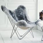 Sheepskin butterfly chair, short hair ICELAND MARIPOSA chrome foot (white, grey)