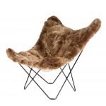 Sheepskin butterfly chair, short hair ICELAND MARIPOSA black metal foot (brown)