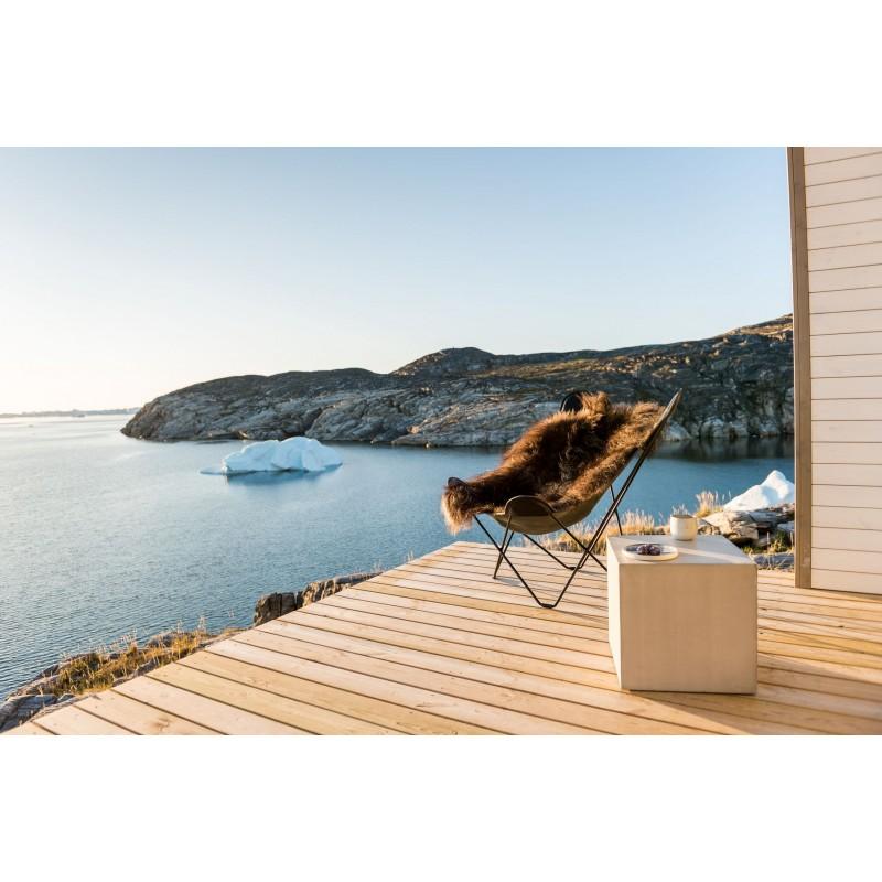 Fauteuil papillon en peau de mouton, poils longs ICELAND MARIPOSA pied métal noir (marron) - image 54172