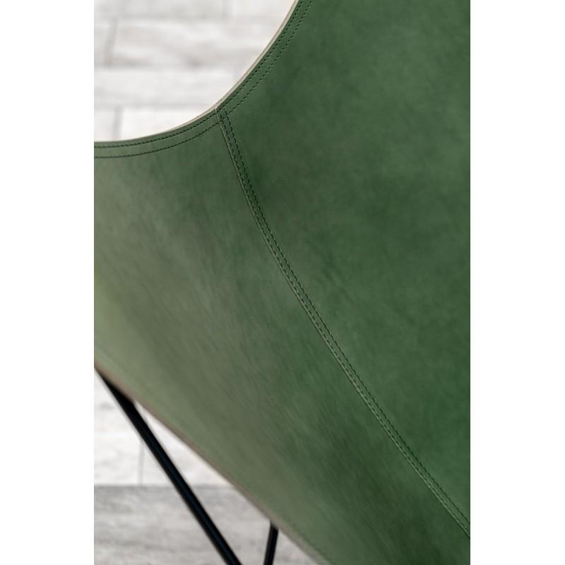 Fauteuil papillon en cuir italien PAMPA MARIPOSA pied chromé (vert) - image 54205