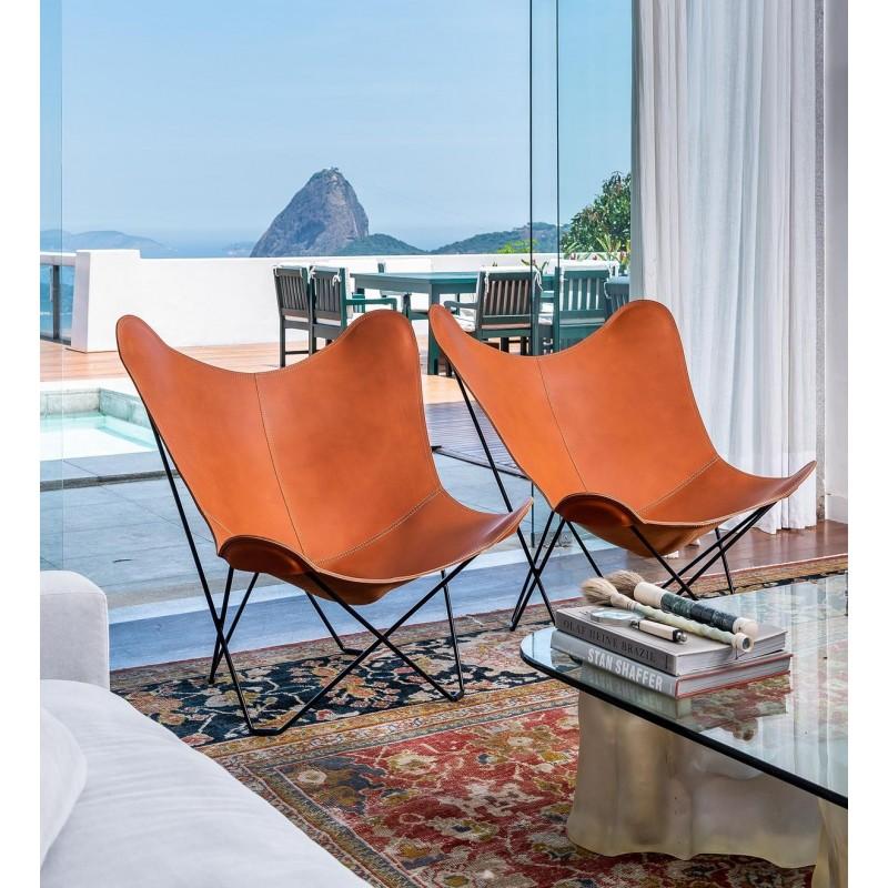 Schmetterling Sessel aus italienischem Leder PAMPA MARIPOSA Fuß Schwarz Metall (braun gold) - image 54216