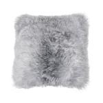 Coussin en peau de mouton, poils courts ICELAND (blanc, gris)