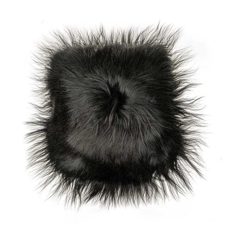 Coussin en peau de mouton, poils longs ICELAND (noir)