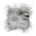 Coussin en peau de mouton, poils longs ICELAND (blanc, gris)