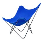 Vegetable butterfly chair in fabric Sumbrella SUNSHINE MARIPOSA black metal foot (Atlantic blue)